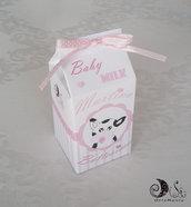 """Portaconfetti milk box """"le baby milk"""" nascita e battesimo bimba grandi nuova grafica con fiocco a pois, personalizzabili"""