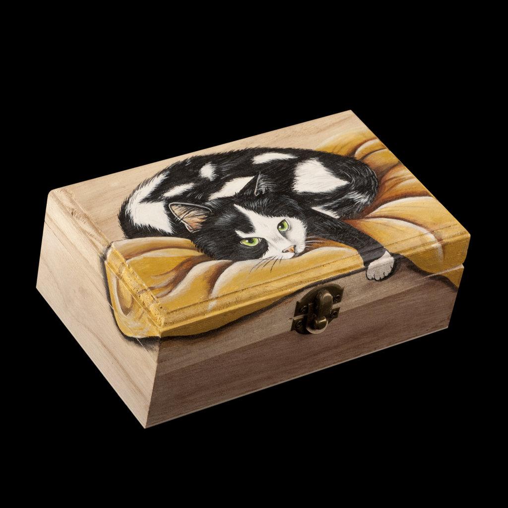 Scatola di legno dipinta a mano gatto sulla coperta for Piani di coperta in legno