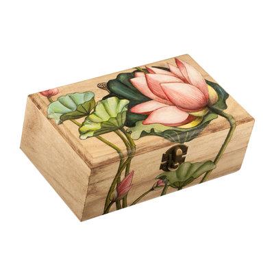 SCATOLA DI LEGNO DIPINTA A MANO - FIORI DI LOTO - oggetto regalo - pezzo unico - contenitore