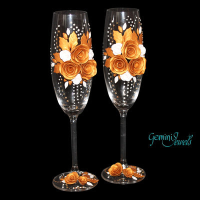 Wedding flutes, decorati a mano in fimo, nozze d'oro