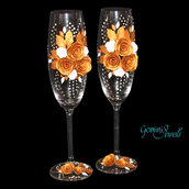 Wedding flutes, decorati a mano in fimo, nozze d'oro