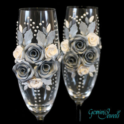 Wedding flutes, decorati a mano in fimo, nozze d'argento