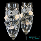 Wedding flutes, decorati a mano in fimo, nozze d'argento