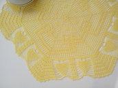 Centro a uncinetto giallo limone, grande centrotavola, pizzo, arredamento casa, 42 cm x 36,5 cm