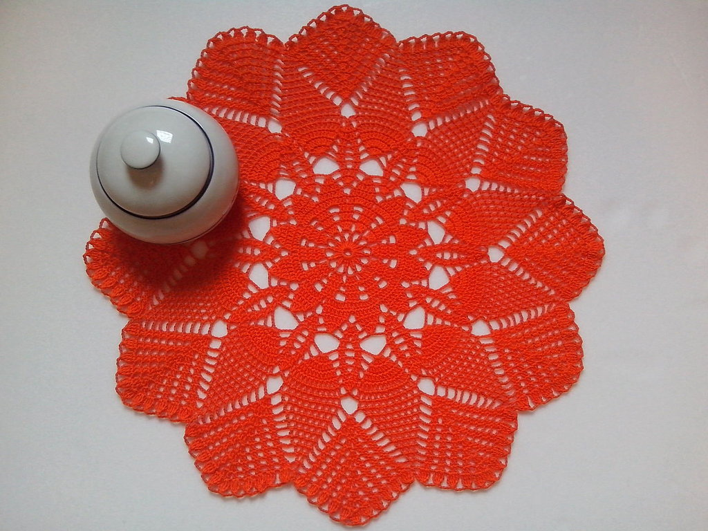 Centrino a uncinetto arancione, grande centrotavola, pizzo, arredamento casa, 36, 5 cm, centro arancione, centrotavola