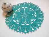 Centrino a uncinetto verde Tiffany, centrotavola, pizzo, arredamento casa, 30 cm, colore verde Tiffany