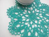 Centrino a uncinetto verde Tiffany, centrotavola, pizzo, arredamento casa/ Diametro 24 cm, centro verde