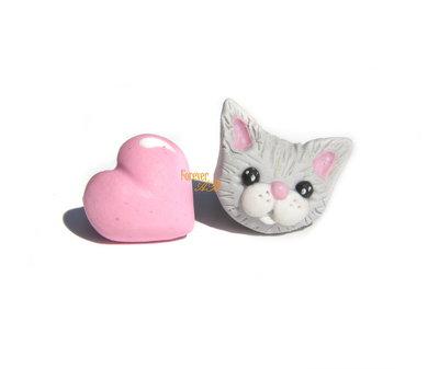 Orecchini lobo perno gatto e cuore fimo idea regalo kawaii