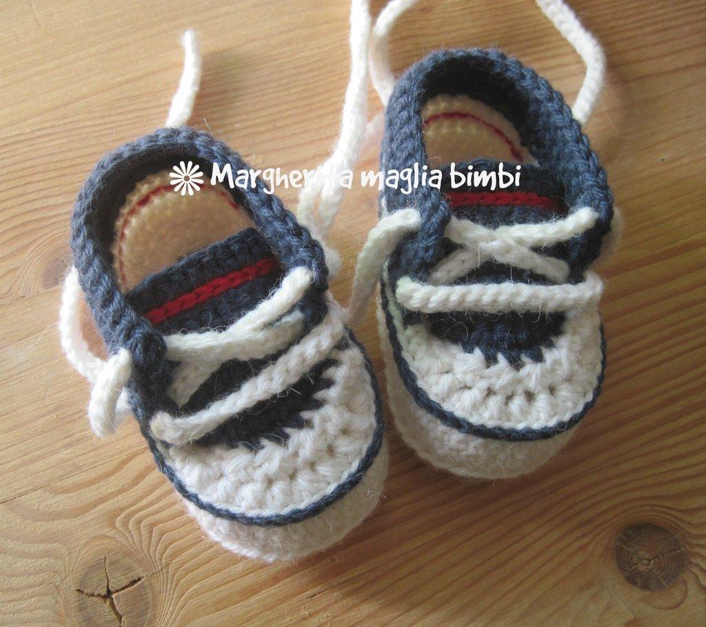 Scarpine sneakers navy bianco - blu - rosso - uncinetto - lana e alpaca - fatte a mano