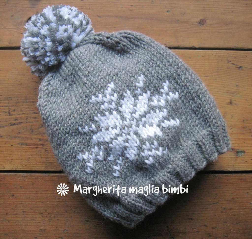 spesso Berretto cappello fiocco di neve fatto a mano in pura lana merino  TB79