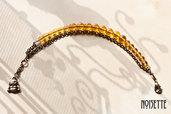 Pulsera doble en oro viejo y ambar
