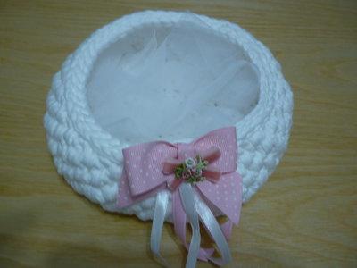 Idea regalo da bimba un dolce cestino in fettuccia bianca con particolare  fiocco rosa