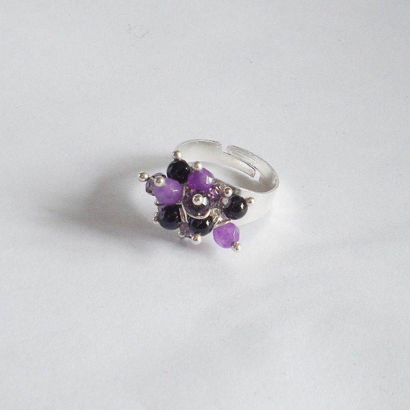 Anello regolabile con agata viola e nera
