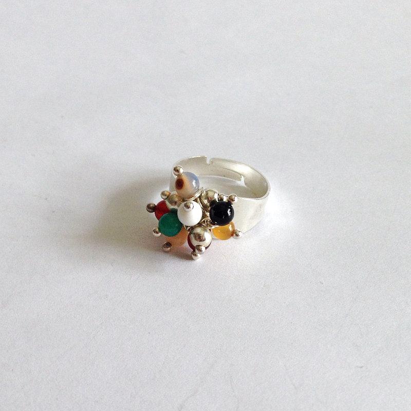 Anello regolabile con agata multicolor