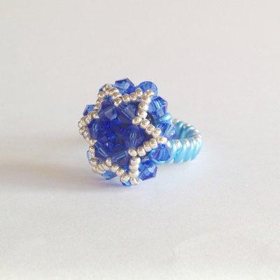Anello stella blu e azzurro con rivoli e superduo