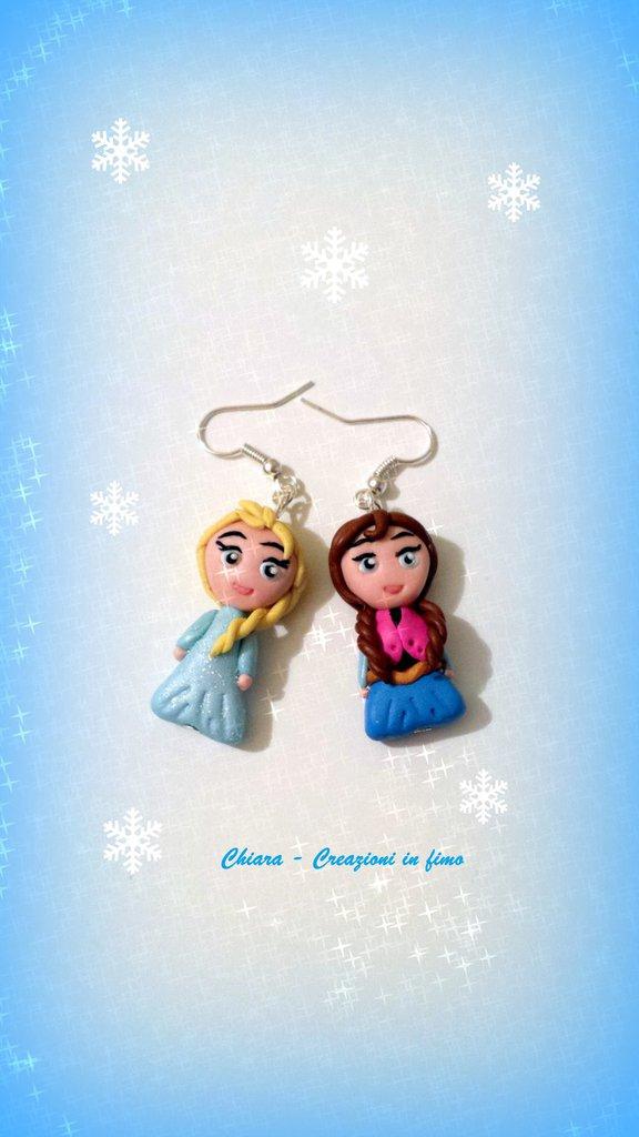Orecchini in fimo fatti a mano con Elsa e Anna kawaii idee regalo epifania