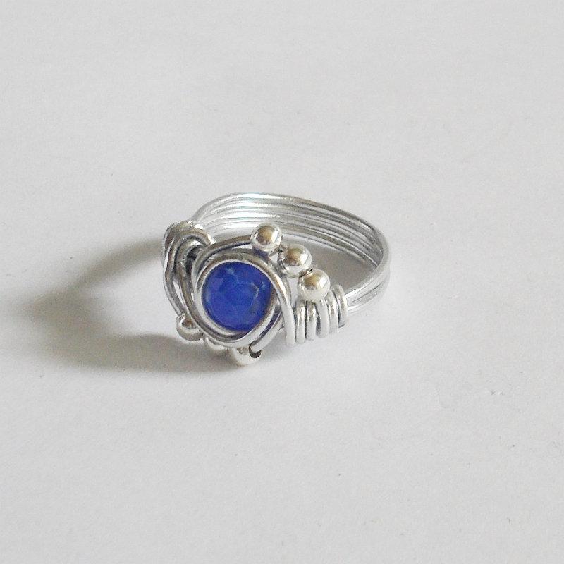 Anello wire alluminio e agata blu