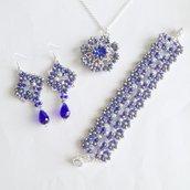 Parure Shine blu argento