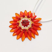Medaglione Corolla floreale arancione e giallo con Padparadscha Swarovski