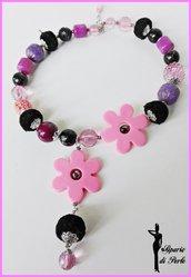 Girocollo con fiori rosa/nero