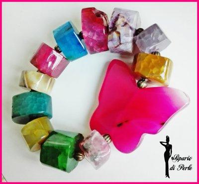 Bracciale multicolor con farfalla