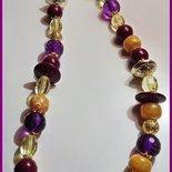 Collana lunga - giallo, oro e viola