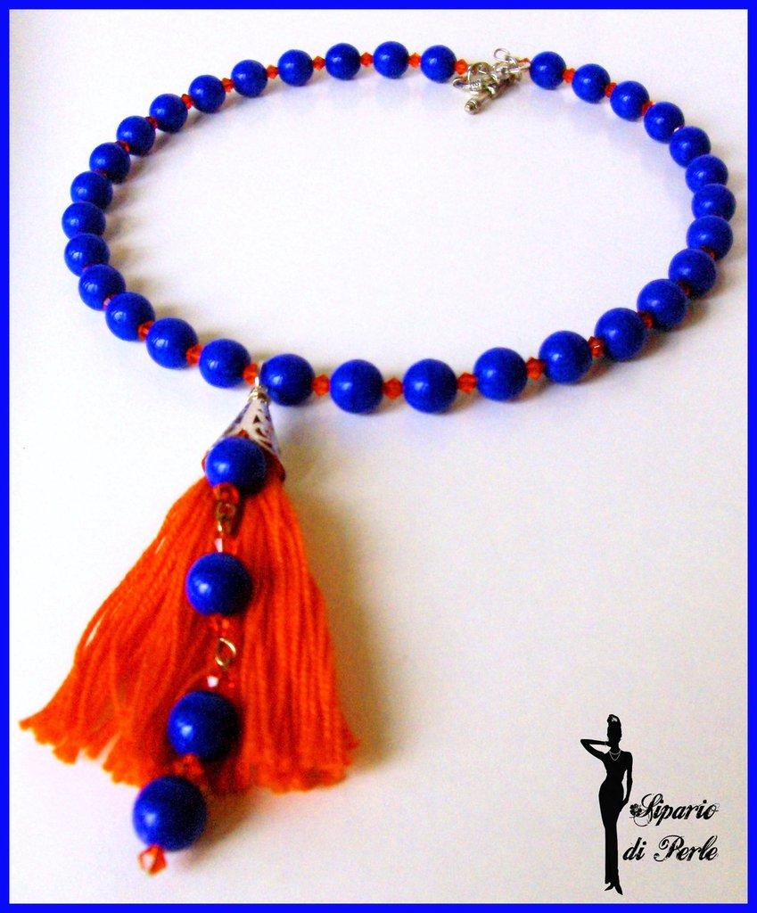 Girocollo bluette e arancio
