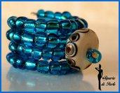 Anello bluette con lampwork
