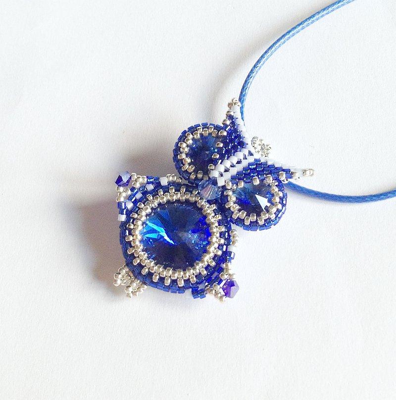 Ciondolo Gufo blu e argento
