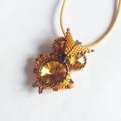 Ciondolo Gufo arancione bronzo