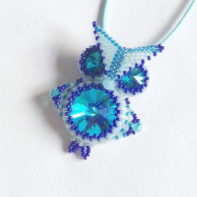 Ciondolo Gufo azzurro e blu