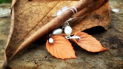 Orecchini foglia pendenti perla fiume fimo pasta polimerica monachelle argento 925