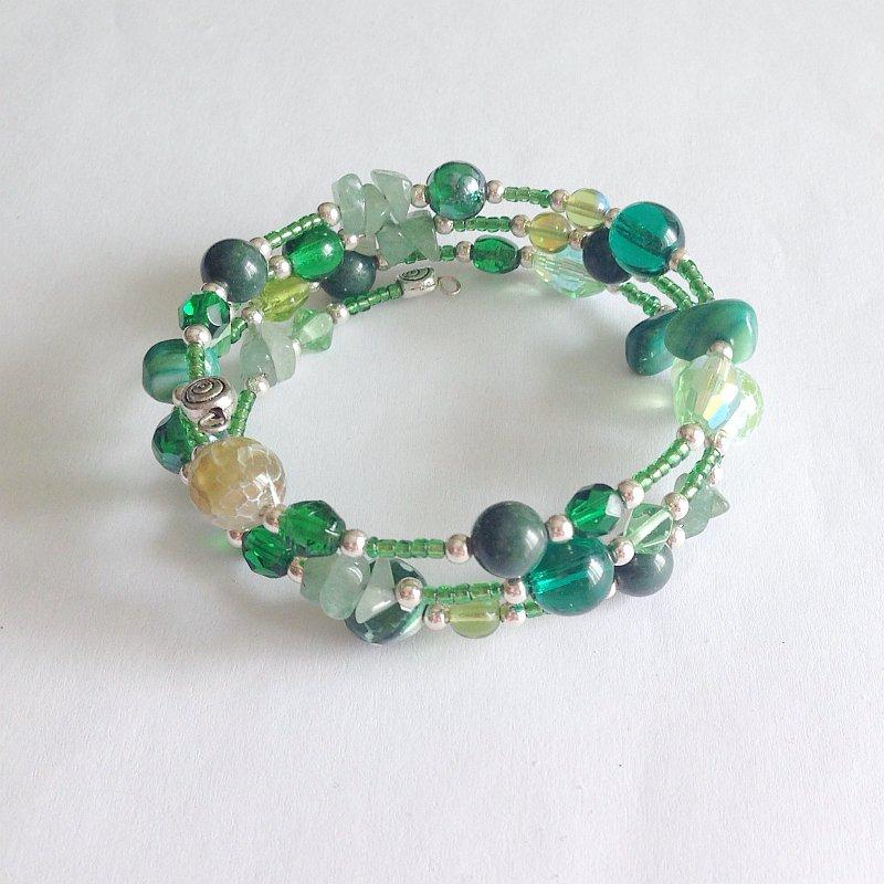 Bracciale armonico verde avventurina da avvolgere
