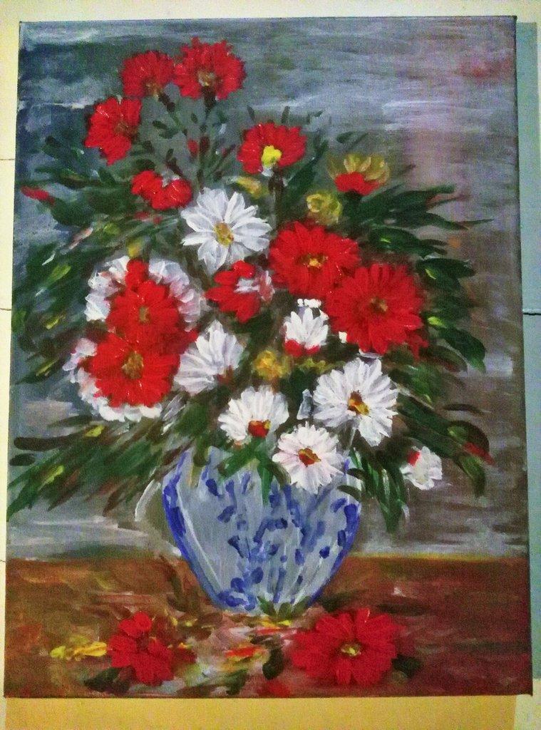 Quadro dipinto ad olio raffigurante un vaso di fiori per for Fiori ad olio
