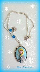 Collana in fimo handmade Elsa kawaii idea regalo epifania