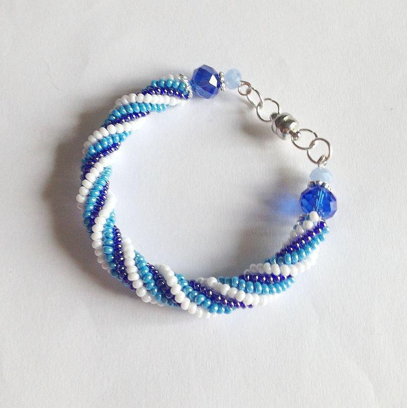 Bracciale spirale Herringbone bianco azzurro blu