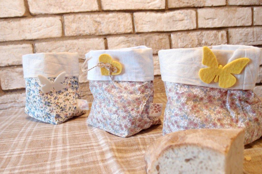 Portapane cotone fiorato stile country, coprivaso in cotone fiori, Contenitore porta oggetti , contenitore caramelle, contenitore pane