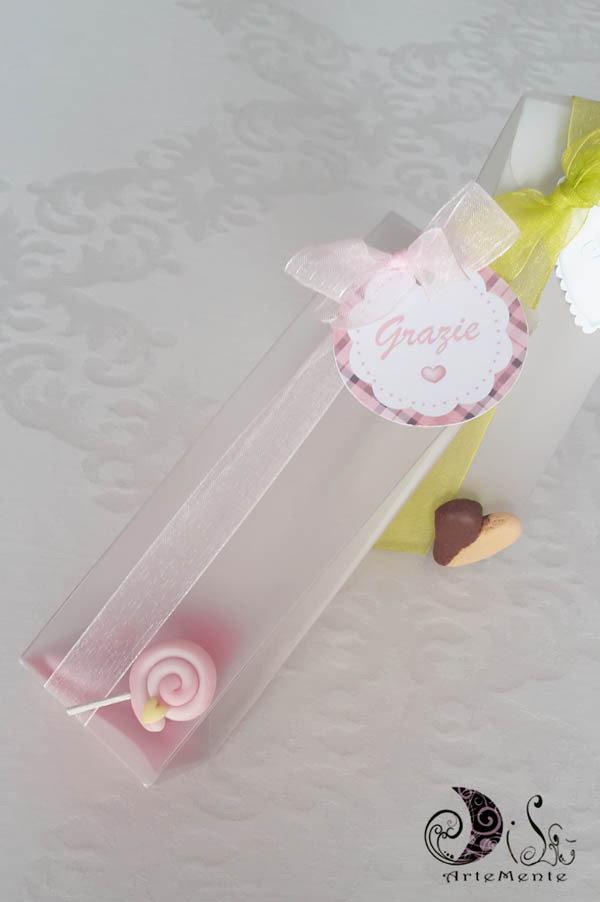 Bomboniere compleanno portaconfetti pvc bustina complete con lecca lecca, ciondoli, portachiavi dolciosi