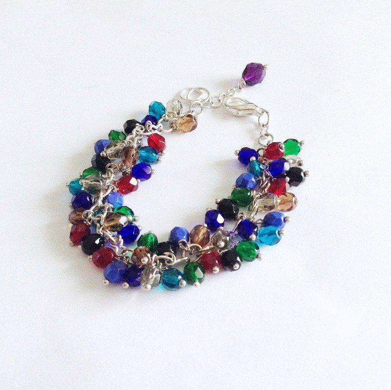 Bracciale mezzi cristalli colorato