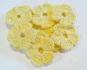 Mini Fiori a uncinetto per applicazioni / Set di 10 fiori  Fiori  gialli