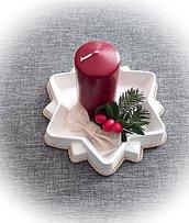 Piattino a stella di ceramica con candela