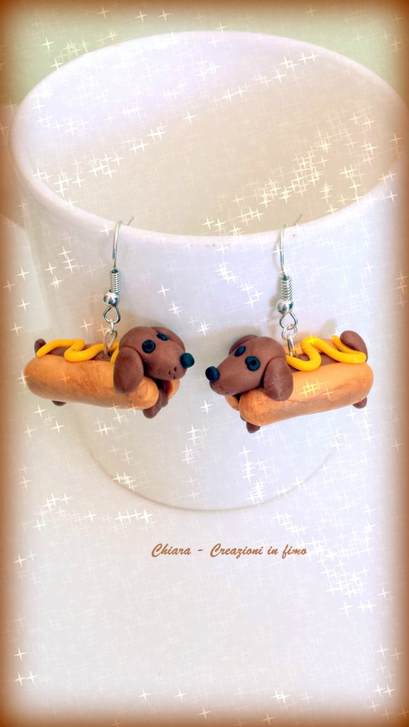 Orecchini in fimo handmade Cani Bassotti Hot Dog kawaii miniature idee regalo amica