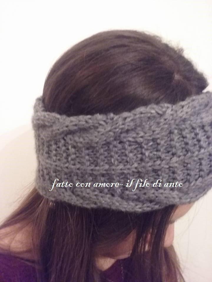 Fascia per capelli in lana grigia