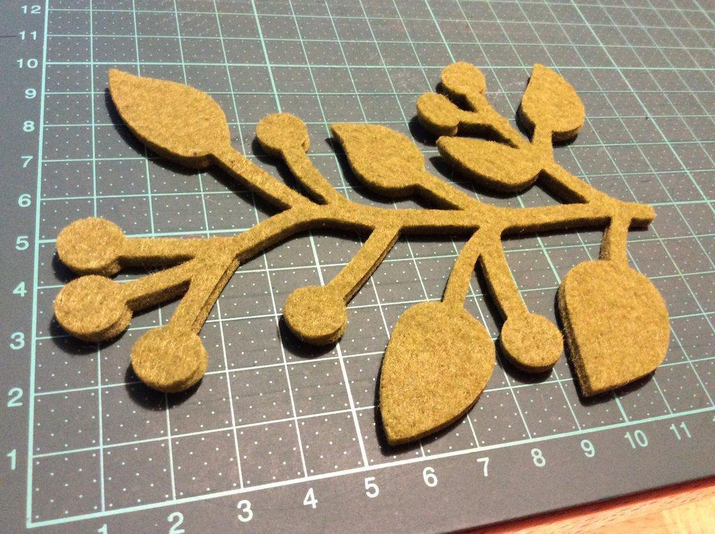 fustellato ramo foglia in feltro 3mm