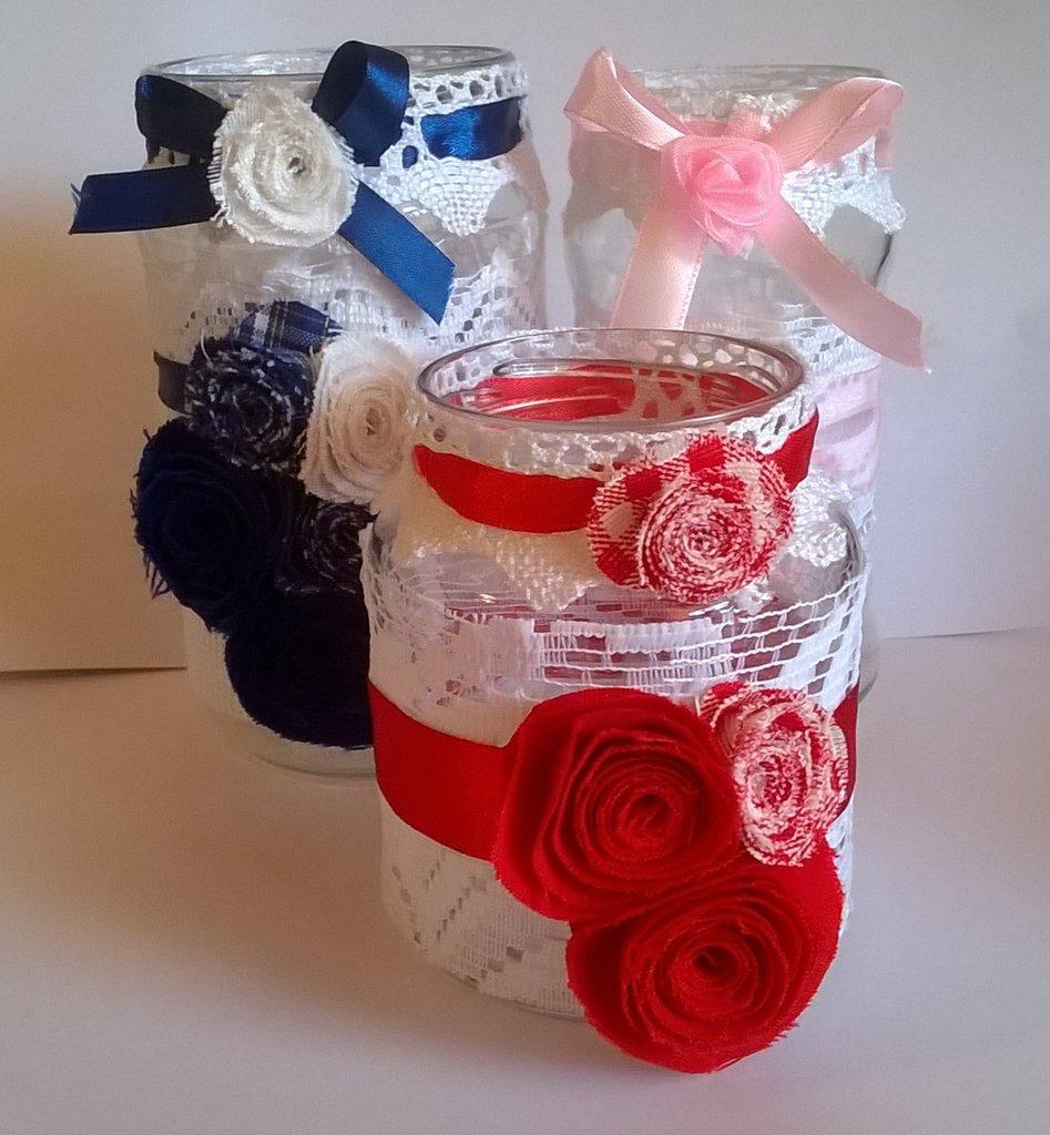 Vasetto decorato set 3 pezzi, porta candela porta oggetti, vaso di fiori