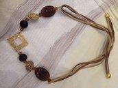 Collana artigianale etnica - marrone e oro