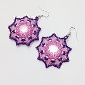 Orecchini Soft con lucite rosa e perline