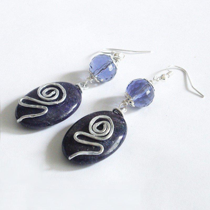 Orecchini alluminio blu viola con diaspro