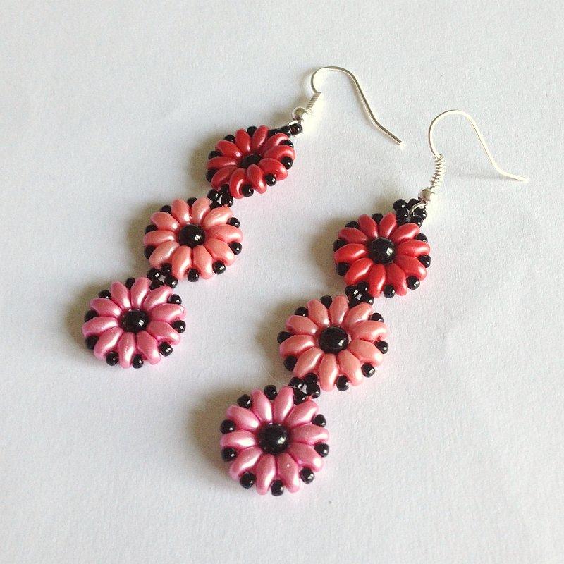 Orecchini Daisy rosso corallo rosa