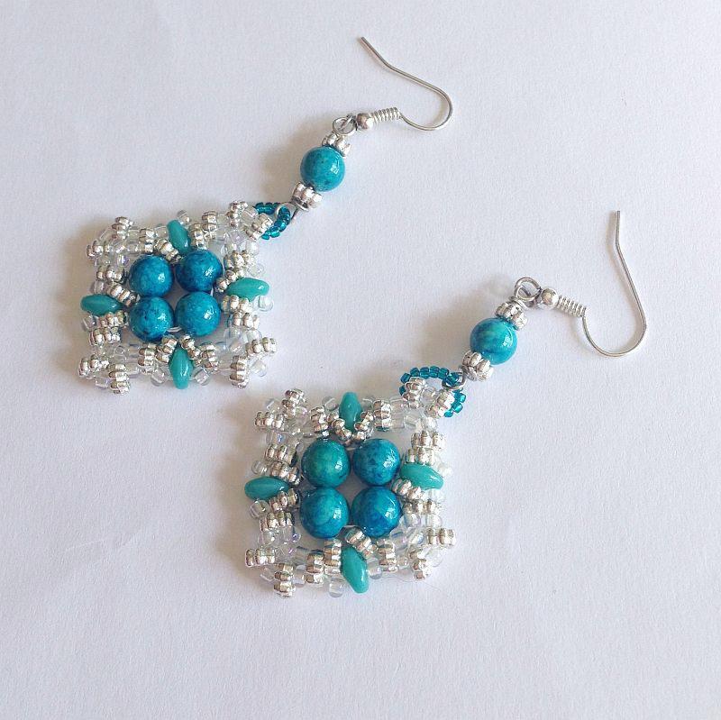 Orecchini Diamond teal and argento